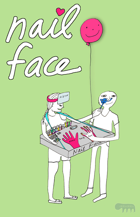 NailFace (rendering) is a self contained human powered facepaint and nail art mobile apparatus consisting of a wearable table-top display booth *currently under construction.