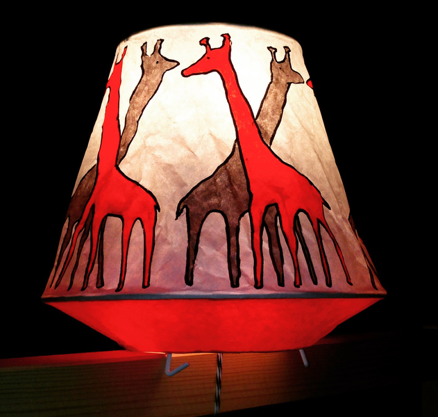 Murals, fabrics, repeating designs criss cross giraffe lamp