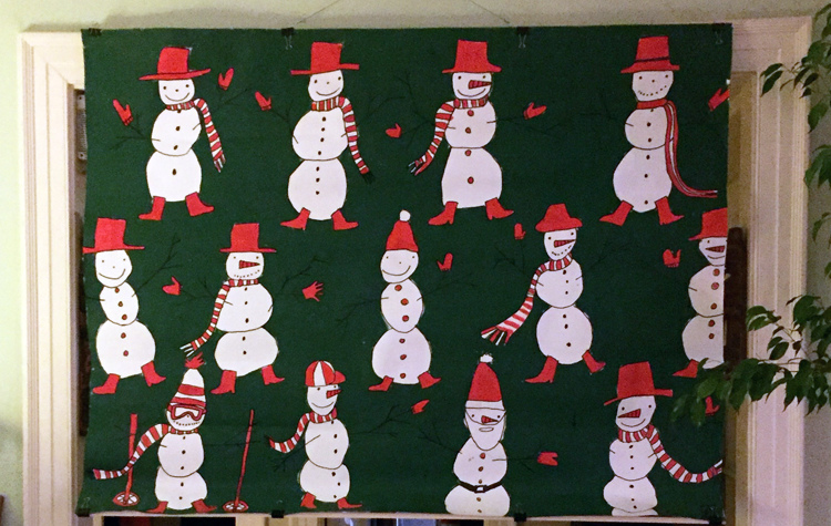 Murals, fabrics, repeating designs snowman