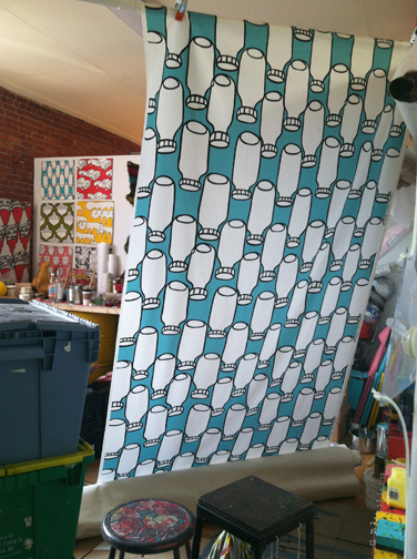 Murals, fabrics, repeating designs Bottle Fabric Blue