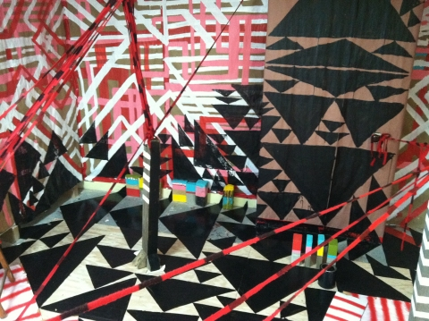 Murals, fabrics, repeating designs Triangles and Lines: 5 sided Mural