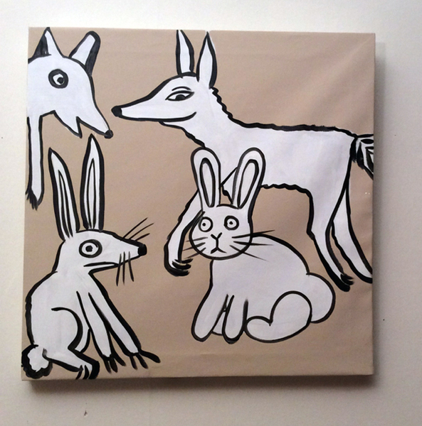 Jabby Walleyes - Paintings in collaboration with James Bellizia Fate of Bunnies