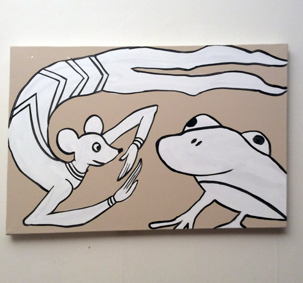 Jabby Walleyes - Paintings in collaboration with James Bellizia Mouse Acrobat w/ Frog