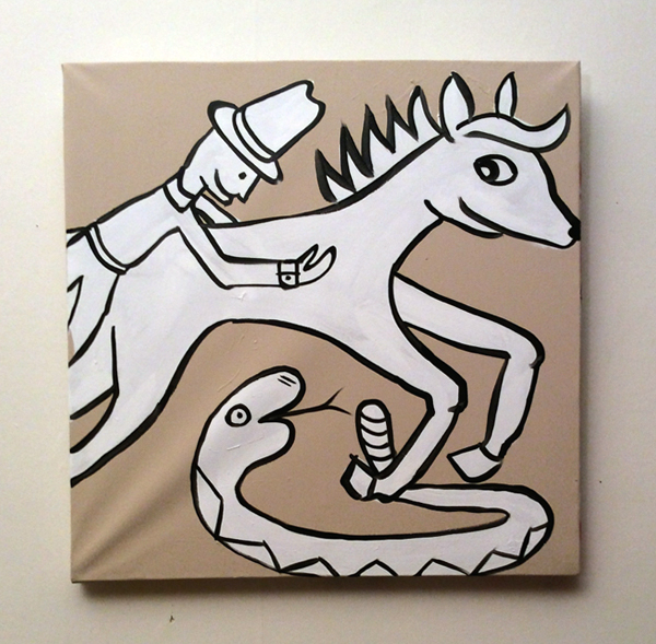 Jabby Walleyes - Paintings in collaboration with James Bellizia Cowboy Horse Snake