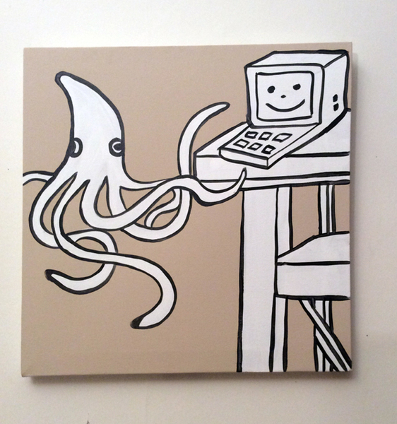 Jabby Walleyes - Paintings in collaboration with James Bellizia Squid on a Computer