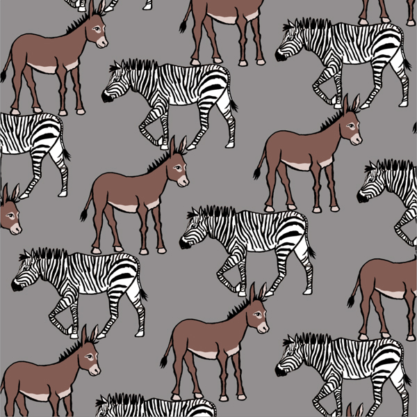 Murals, fabrics, repeating designs Donkey Zebra