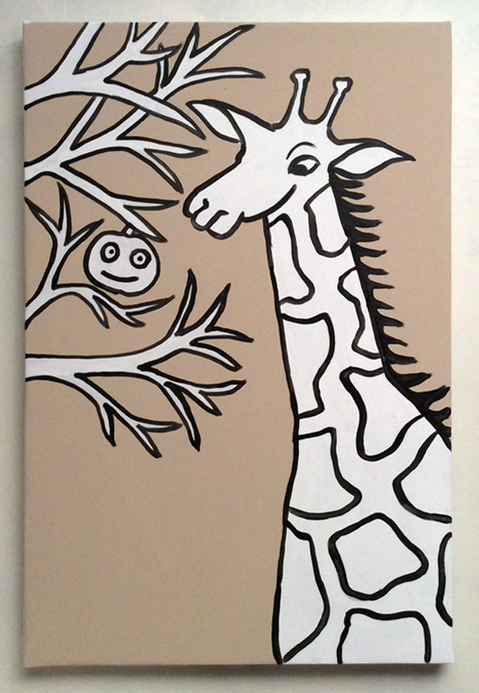 Jabby Walleyes - Paintings in collaboration with James Bellizia Giraffe Eyes an Apple