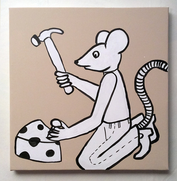Jabby Walleyes - Paintings in collaboration with James Bellizia Nailing the Cheese (Mouse Carpenter)