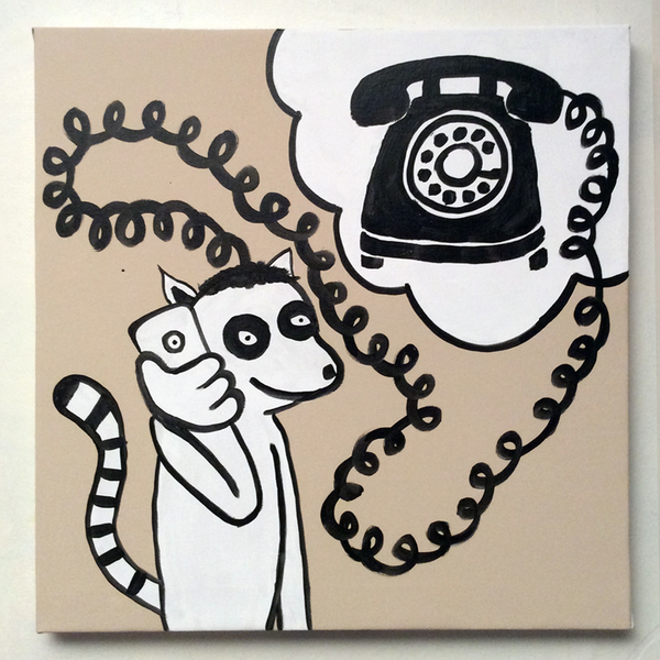 Jabby Walleyes - Paintings in collaboration with James Bellizia Lemur on a Telephone