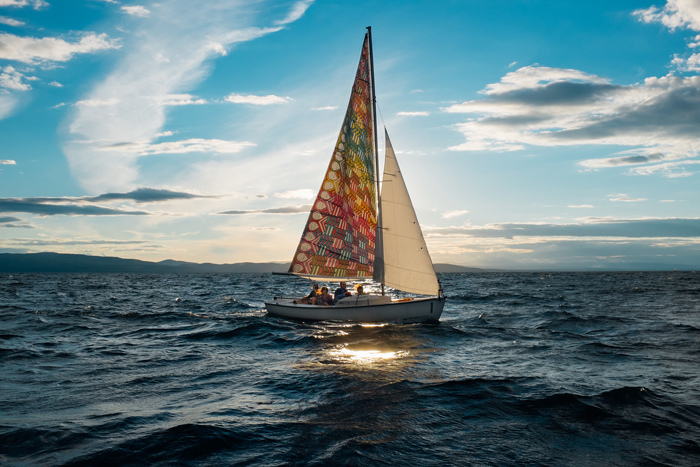 Murals, fabrics, repeating designs ALL set sail on a sunset sail