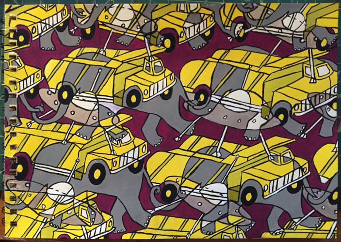 Murals, fabrics, repeating designs Dumptruck Elephant UFO