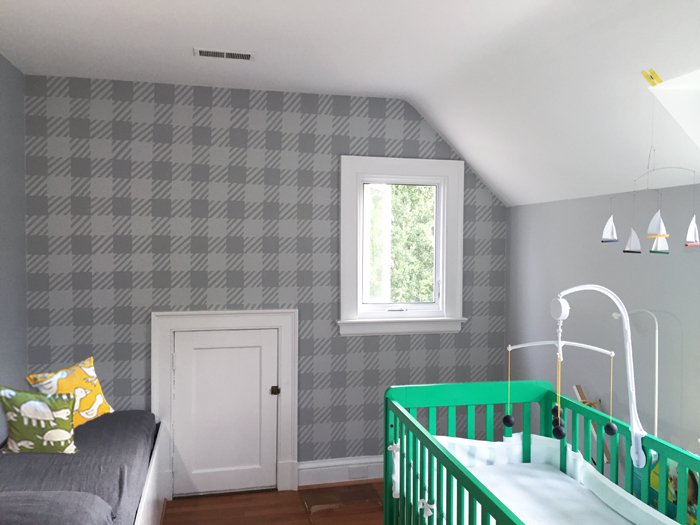 Murals, fabrics, repeating designs Grey Plaid Mural