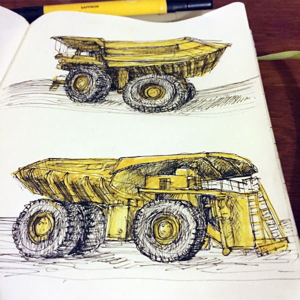Murals, fabrics, repeating designs Dumptruck sketches