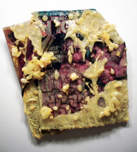 ADAM  MARS Deep Fried Tabloids tempura, vegetable oil, and fiberglass over magazine