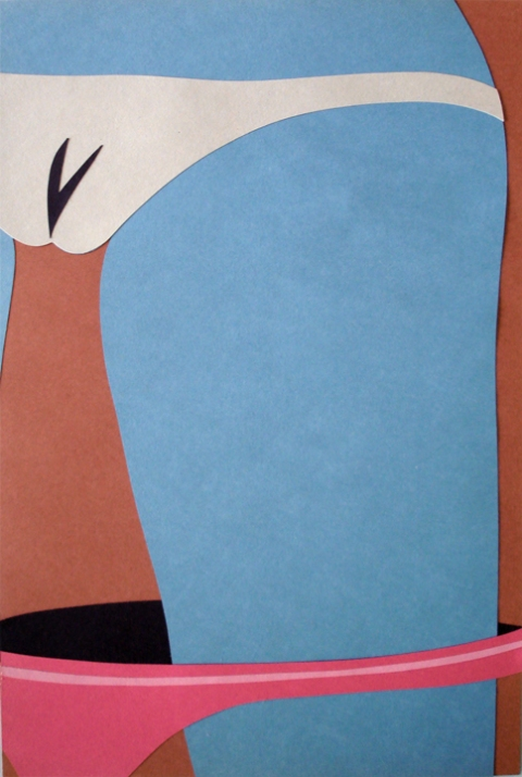 ADAM  MARS Nude Paintings colored paper collage