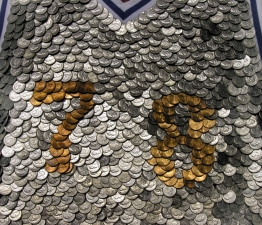Adam Taye Jerseys Dimes, pennies, wood, fabric