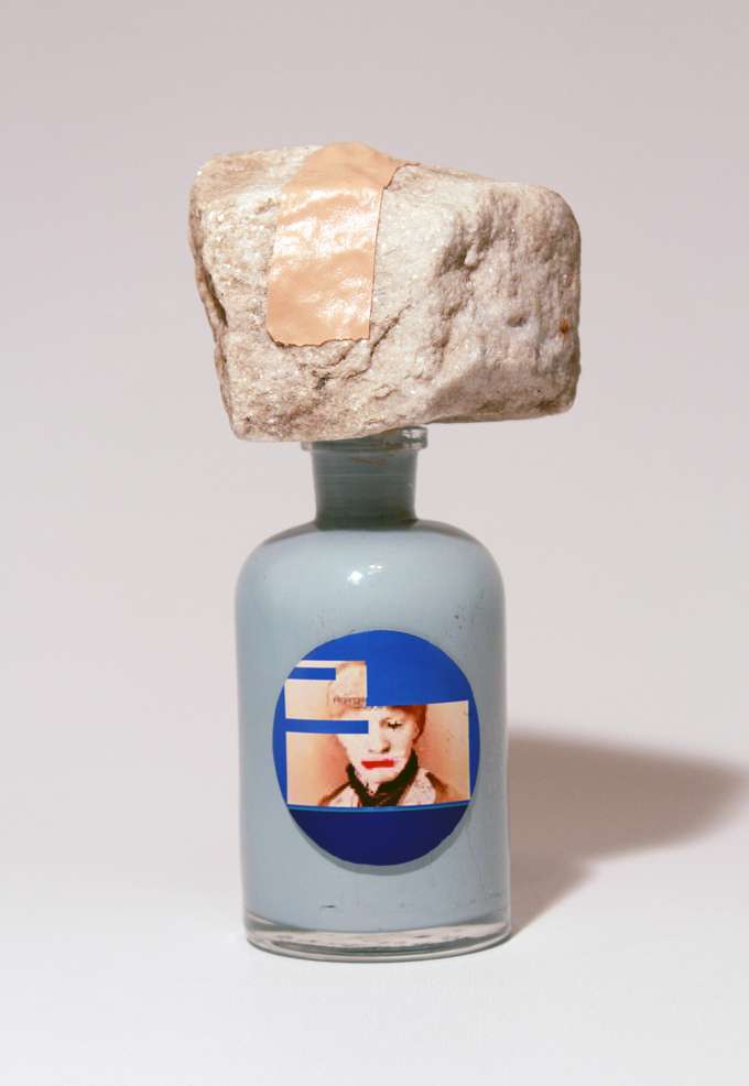 Adam Welch An Apothecary (series)  Glass, stone, digital print, athletic tape, acrylic