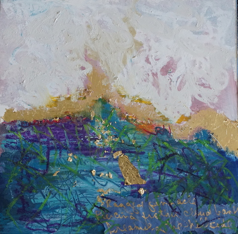 "Adrienne Momi ""Dreaming the Landscape"" gallery Gilded mixed media on board"