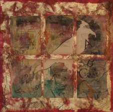 "Adrienne Momi ""ABCdarium"" galllery Gilded Mixed Media Monoprint"