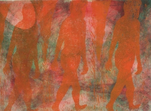 "Adrienne Momi ""Transitions"" gallery Monoprint/woodcut"