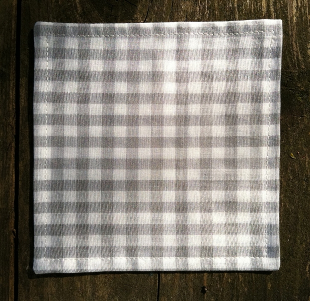 COASTERS  Pearl Gray Gingham Coasters