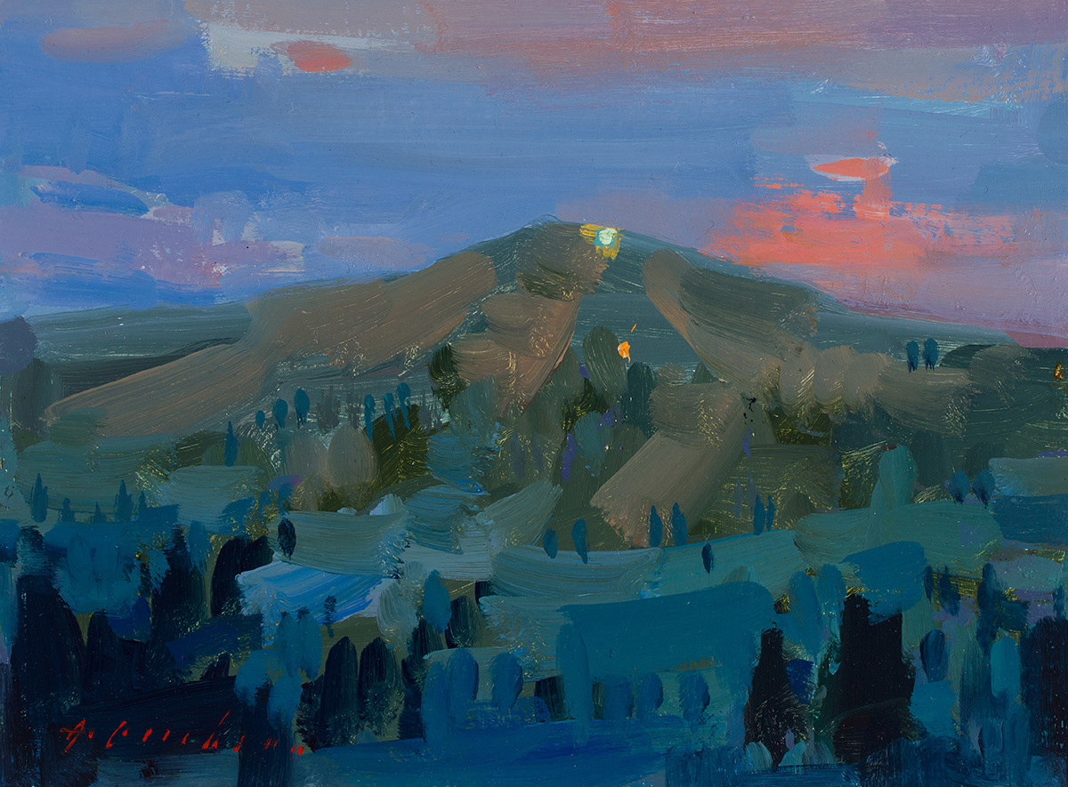 Featured/Recent Paintings Ski Hill in Summer at Night