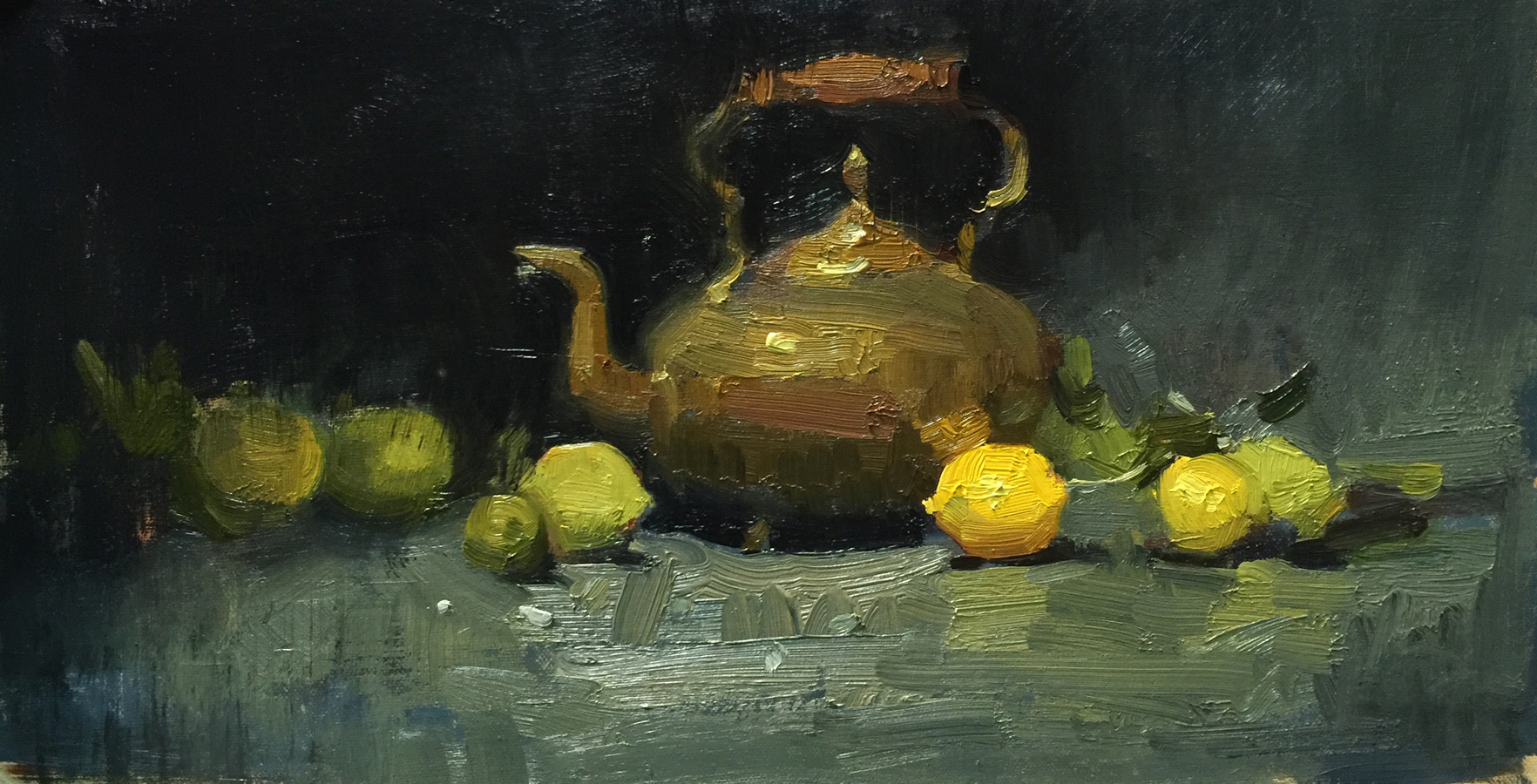 Still Life/Interiors Still Life with Lemons and Brass Teapot