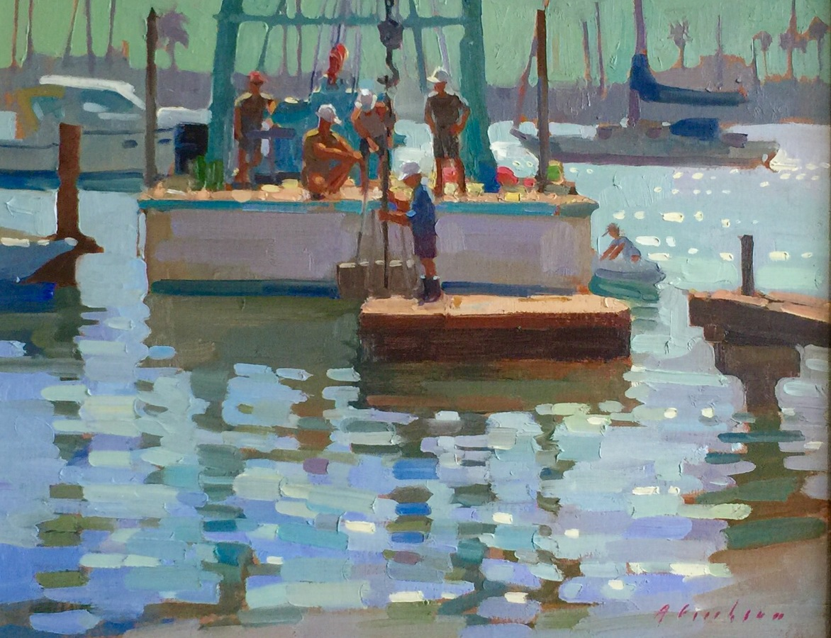 Available Paintings Installing Piers (Balboa Island)