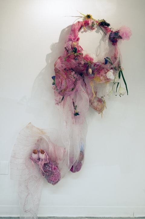 aimee hertog Installation and Sculpture Discarded plastic hoop, fake and real flowers, mesh fabric, doll clothes, baby bottle nipples, resin, paint, luffas, glitter