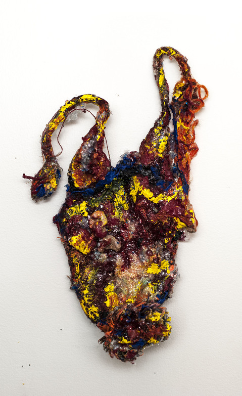 aimee hertog Installation and Sculpture Discarded ski hat, Styrofoam peanuts, paint, alcohol ink, glitter, resin