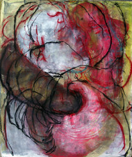 "Alexandra Wiesenfeld  "" O "" mixed media on board"