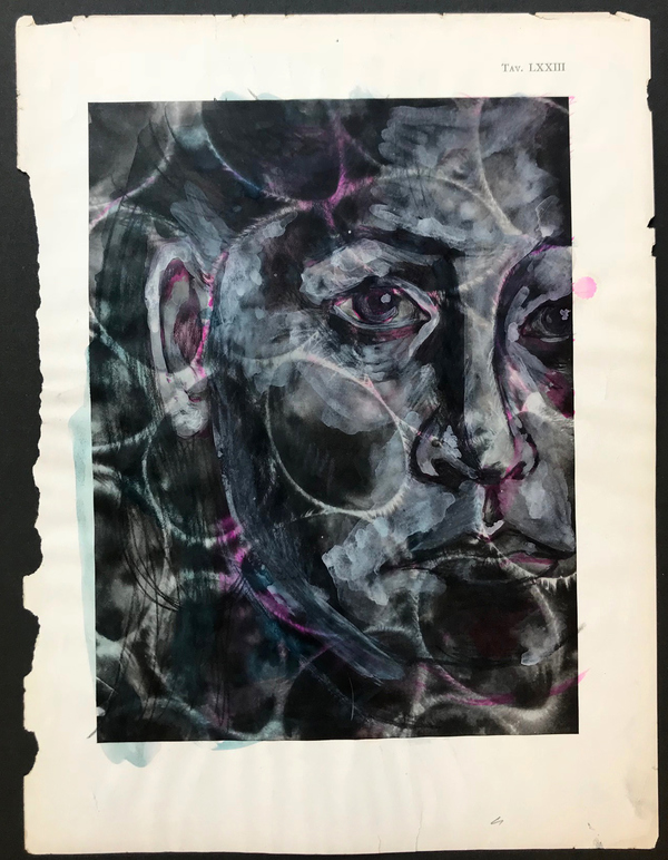 Alexandra Rutsch Brock Self Portraits gouache, ink on vintage Italian medical book page, microscopic photograph of germs