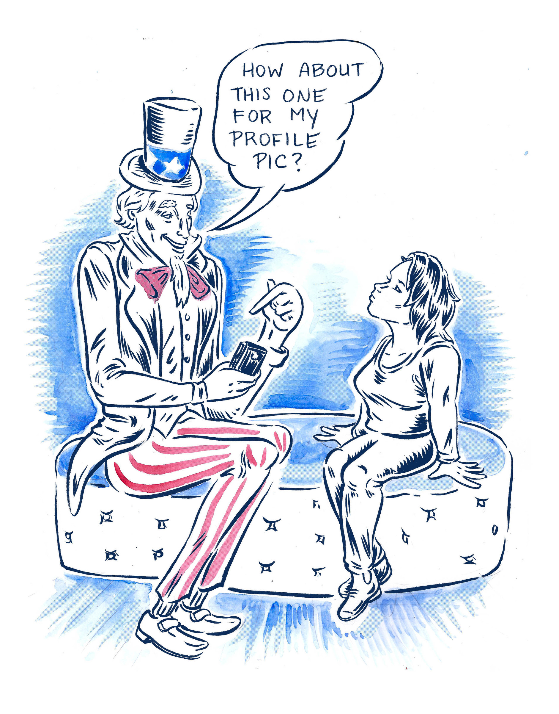 New Yorker Comics Uncle Sam Tries Tinder