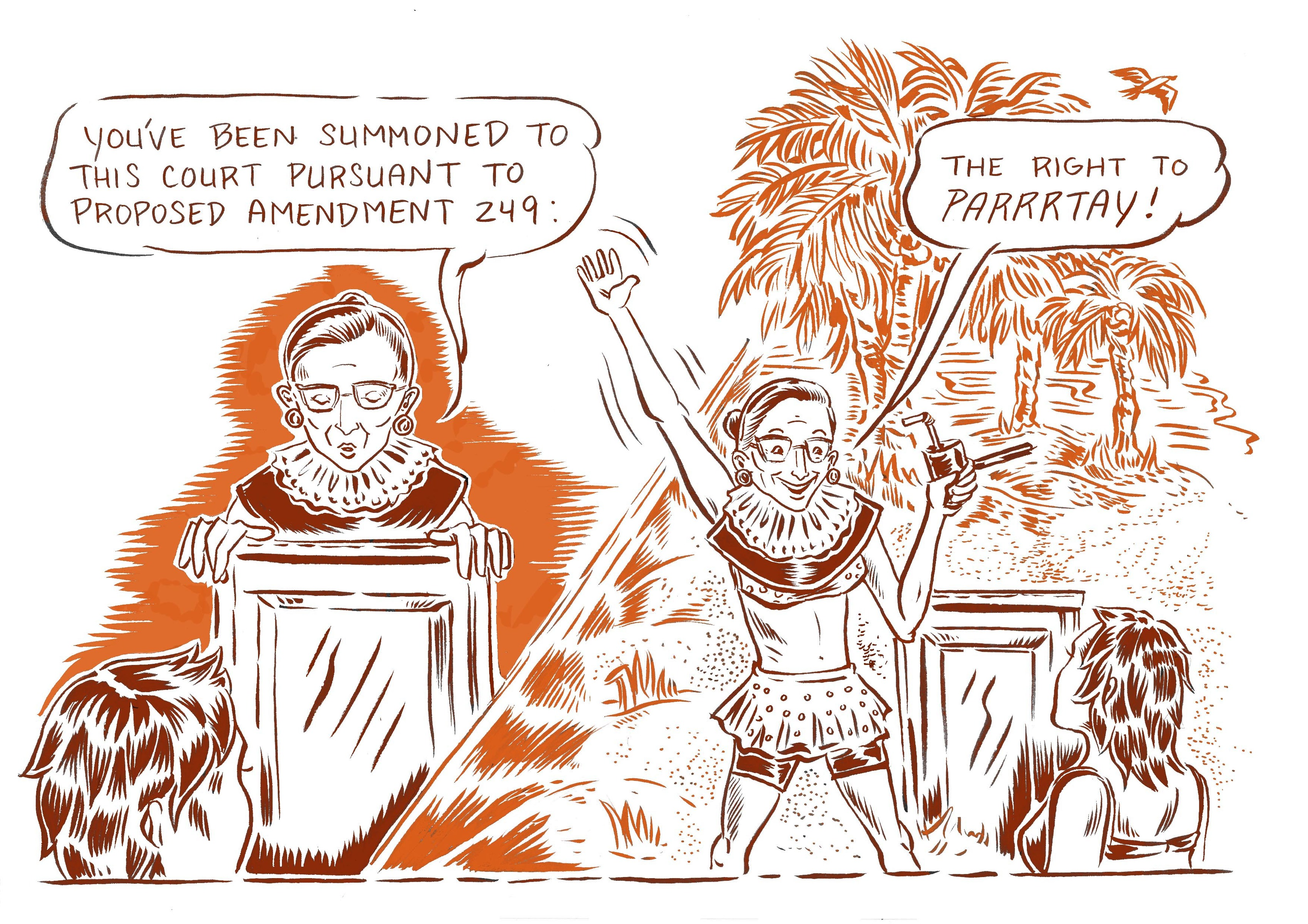 New Yorker Comics Ruth Bader Ginsburg's Summer Beach Party