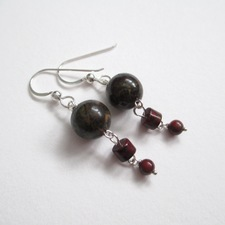 ALI HERRMANN Sterling and Semiprecious Stone Earrings dragons blood jasper, red brecciated jasper, sterling