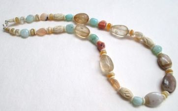ALI HERRMANN Stone Necklaces and Bracelets amber quartz/jasper/peruvian blue opal/mexican opal/bone/sterling clasp