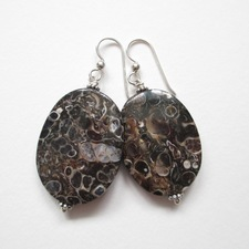 ALI HERRMANN Sterling and Semiprecious Stone Earrings turritella agate, sterling