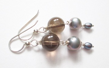 ALI HERRMANN Sterling and Semiprecious Stone Earrings smoky quartz, gray pearl, freshwater pearl