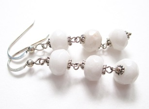 ALI HERRMANN Sterling and Semiprecious Stone Earrings white jade, sterling
