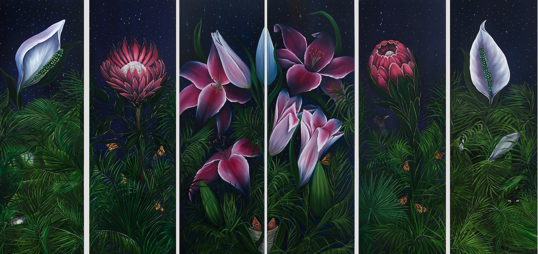 Allison Green Night Garden Oil on Canvas