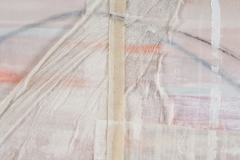 AMANDA  BARROW Paintings oil, ink, fabric & cheesecloth on cotton