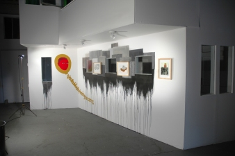 Amanda Lechner Installation and Studio Images ramed works on paper, acrylic paint, ink
