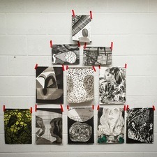 Amanda Lechner Installation and Studio Images ink on paper