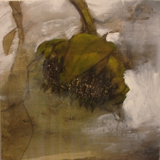 Amie Oliver Botanicals charcoal and acrylic on birch panel