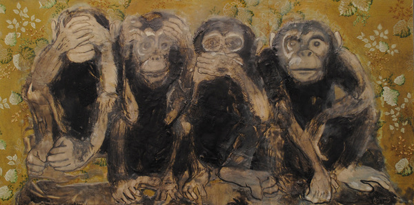 ABMacD No Evil 2014-2015 charcoal, oils and encaustic on paper on wood