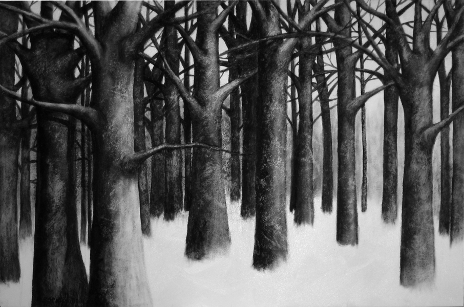 Amy Bock Trees Oil stick, sand on panel
