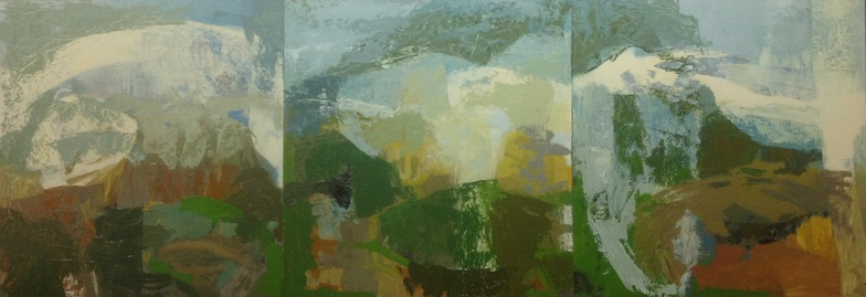 Amy Falstrom Weather Pictures oil on panel, triptych