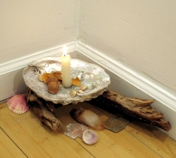 Amy Finkbeiner Incantations, Benedictions, and Curses Seashells, died petals, acorns, driftwood, stones, quartz