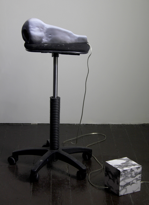 Amy Gartrell More Recently painted ceramic, studio stool, lamp wiring, incandescent flicker bulb, power converter