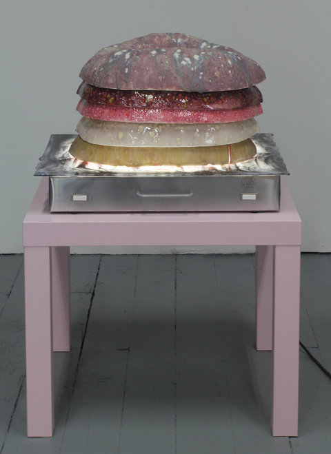 Amy Gartrell More Recently glazed ceramic, Lack table, Porta-Trace, glass, inked on mylar